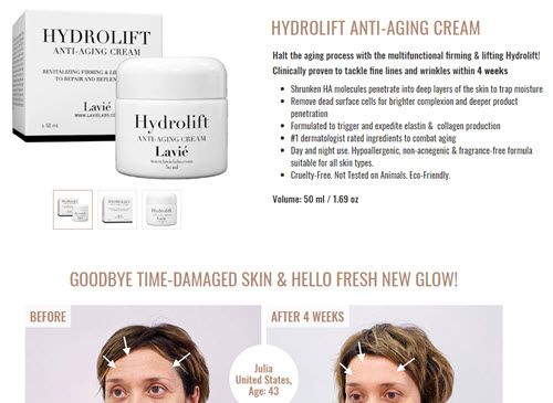 Hydrolift - Anti-Aging Cream screenshot